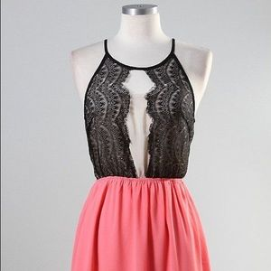 Moon Collection Black and Pink Lace Cocktail Dress